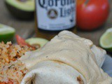 Baked Chicken Burritos with Cheesy Green Chile Cream Sauce + Weekly Menu