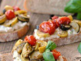 Basil Ricotta Toast with Garlicky Charred Tomatoes and Squash + Weekly Menu