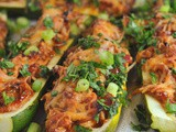 Cheesy bbq Chicken Stuffed Zucchini Boats + Weekly Menu