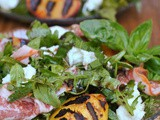 Grilled Peach Salad with Basil, Mozzarella, and Prosciutto