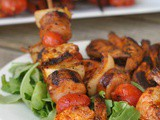 Grilled Shrimp and Sausage Skewers with Smoky Paprika Glaze + Weekly Menu
