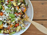 Grilled Summer Vegetable Salad with Lemon Vinaigrette and Gorgonzola