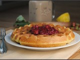 Meatless Monday: Lemon Cornmeal Waffles with Raspberry-Rhubarb Compote