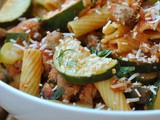 Rigatoni with Sausage, Tomatoes, and Zucchini + Weekly Menu