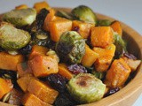 Roasted Brussels Sprouts Salad with Maple Butternut Squash, Pepitas, and Cranberries