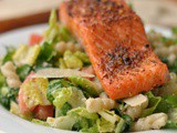Simple Caesar Salad with Salmon and Pasta