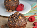 Skinny Chocolate-Banana Peanut Butter Chip Muffins