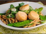 Soy Citrus Scallops with Udon Noodles and Snow Peas