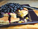 Sweet Corn Pancakes with Blueberry Balsamic Sauce
