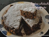Eggless Whole wheat Chocolate almond cake recipe, how to make Basic Wheat flour Chocolate cake