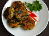 Drumstick Leaves and Potato Cutlet/Aloo Tikkis with Drumstick Leaves