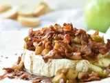 Baked Brie Cheese Appetizer with Apples and Bacon