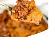 Bourbon Sweet Potato Casserole with Praline Topping