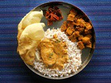 Mangalorean Plated Meal Series - Boshi# 10 - Fish Curry, Soorn Sukhen, Tendli Carrot Popai Lonche, Papdo