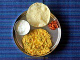 Mangalorean Plated Meal Series - Boshi# 14 - Dal Khichdi, Yogurt, Pickle & Papad