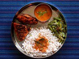 Mangalorean Plated Meal Series - Boshi# 16 - Simple Fish Fry, Tomato Saar, Beans Thel Piao & Rice