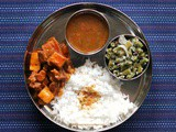 Mangalorean Plated Meal Series - Boshi# 27 - Pork Bafat with Yam & Radish, Tomato Saar, Beans Thel Piao
