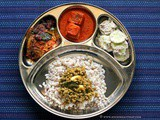Mangalorean Plated Meal Series - Boshi# 32 - Fish Vindaloo, Cucumber Salad, Moong Curry, Fish Fry & Rice