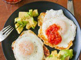 Egg-Topped Fried Cheese With Avocados and Salsa