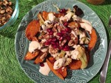 Roasted Butternut Squash and Cauliflower with Walnuts, Pomegranate, and Tahina