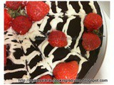 Baking Barbara's old fashioned chocolate cake with Balsamic strawberry & Cream filling - Eggless