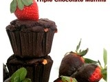 Whole wheat Eggless Triple Chocolate Muffins