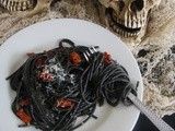 Halloween Dinner ii: Black Spaghetti with Garlic, Parmesan and Sun-dried Tomatoes