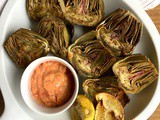 Lemon Roasted Artichokes with a Roasted Red Pepper Hummus Dip and Grilled Artichokes with a Sundried Tomato Dip