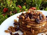 Loaded Pumpkin Pancakes with Cranberry and Pecan Topping