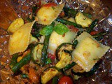 Cheese ravioli with roasted vegetables