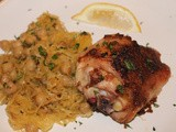 Citrus and spice roasted chicken with spaghetti squash and chickpeas
