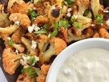 Roasted Buffalo cauliflower with blue cheese dressing
