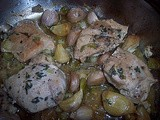 Roasted chicken thighs with garlic cloves