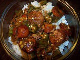 Stewed okra and tomatoes with andouille sausage