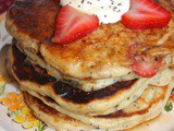Strawberry sour cream-poppy seed pancakes