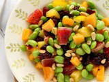 Edamame Salad with Persimmon, Peppers and Pine Nuts {Vegan, Gluten-Free}