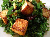 Kale Salad with Cherries, Walnuts and Tofu Croutons
