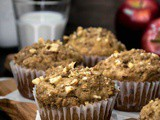 Eggless Apple Banana Streusel Muffins