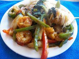 Shrimp Stir Fry with Green Curry Sauce for #FishFridayFoodies