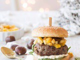 Christmas burger with chestnuts and mango chutney