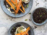 Roasted carrots with beluga lentils and In defense of food – Michael Pollan