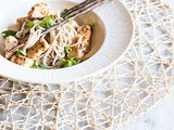 Soba noodles with spicy chicken and lemon oil