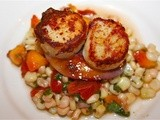 French Fridays with Dorie: Warm Scallop Salad with Corn, Nectarines, and Basil