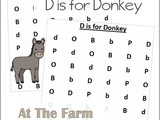 Farm Animals Find the Letter d is for Donkey
