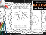 Halloween Tracing and Coloring Book