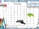 Ocean Animals Letter Find Worksheets
