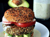 Red Lentil Sweet Potato Hemp Burgers with Ginger Basil Sauce