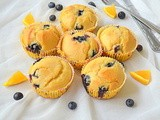 Orange Blueberry Muffins ~ Eggless n Butterless / Eggless Orange Blueberry Muffins