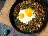 Arugula Hash with Oven Baked Eggs