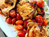 Cast Iron Pan Roasted Chicken Thighs with Roasted Tomatoes